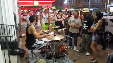 Drummers amazing skills turns the crowd wild