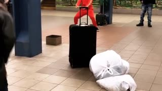 Two guys subway station dance off