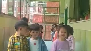 A beautiful scene with children in love