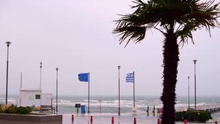 Windy winter day in Peraia, Thessaloniki