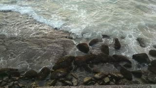 Waves at a rocky shore