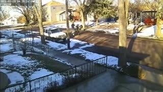4 Wheeler Does A Wheelie Through The Neighborhood