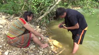 Fish Attack Girl - Primitive Life Catching Fish in The River For Survival