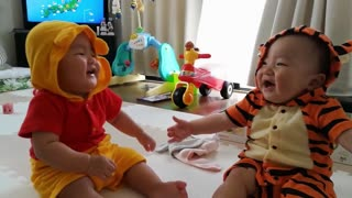 Talking Twin Babies brother makes a sister laugh!