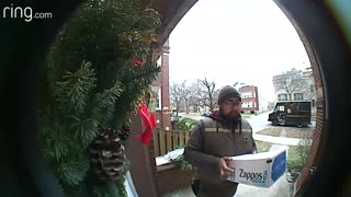 Squirrel Says Hello to UPS Delivery Driver