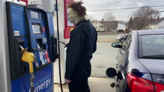Horror Icon Michel Myers always wears a mask when getting gas during a Pandemic