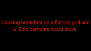 Cooking on a solo Camp Fire wood stove and a flat griddle