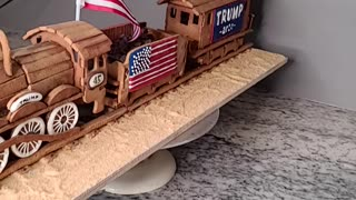 Gingerbread Trump Train and Stutue of Liberty