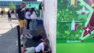 Soccer fans write messages to Christian Eriksen