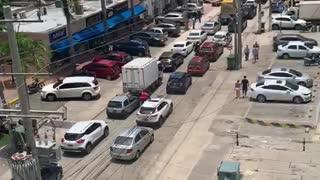 Congestión vehicular en Bocagrande por plantón