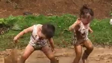 Funny Moments While Playing In The Mud. Happy and Joyful Childhood.