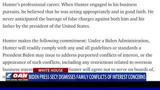 Biden press secy. dismisses family conflicts of interest concerns