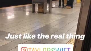 Man blue hair blue shirt violin subway station