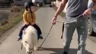 Little girl riding on baby horse