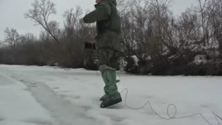 Moment Soldiers Blow Up Frozen River To Prevent Floods