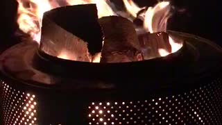 Outdoor fireplace from an old washing machine
