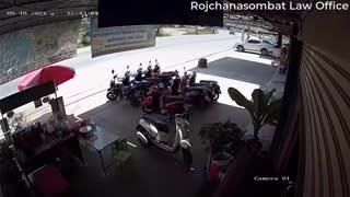 Sliding Car Smashes Through Shop Window