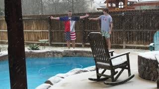 Texas polar bear snow swim