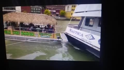 Cleveland Tiki Boat Runs into the Nautica Queen