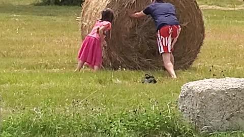 Hay bale flipping