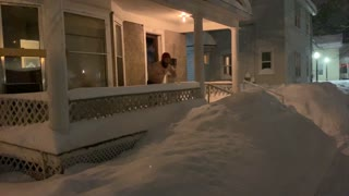 Snow-Mageddon Porch Jump Fail