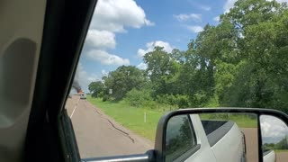 Camper on fire on Texas highway