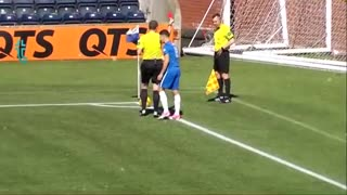Referees catches on the football field