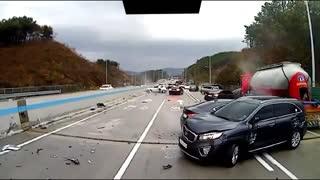 Highway Black Ice Accident Video