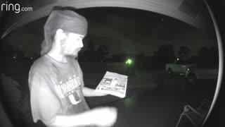 Ring doorbell licker caught on camera