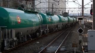 Freight train waiting at Tachikawa Station