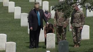 President Donald Trump And Melania Trump Visit Arlington National Cemetery