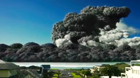 Volcano Eruption Near New Zealand White Island A Rare CCTV Footage. (CGI)