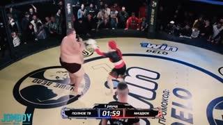 Small woman fights 500lb+ man