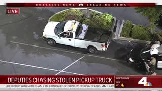 Police Pursuit of Stolen Work Truck in LA, Ends In Long Beach