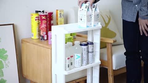 Bathroom Organizer Shelf/ Kitchen Storage Rack For Goods Fridge Side Shelf