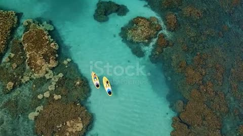 Aerial View of Couple Stand Up Paddling