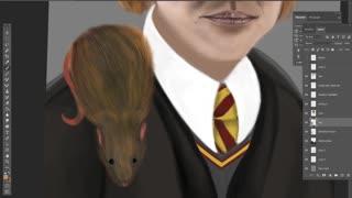 Ron Weasley & Scabbers Art Timelapse Video