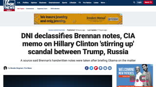 DNI declassifies Brennan notes, CIA memo on Hillary Clinton 'stirring up' scandal Trump, Russia