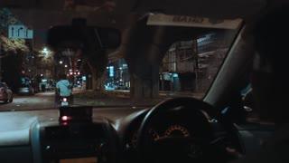 Riding Car Under Bridge In Rainy Night Road trip