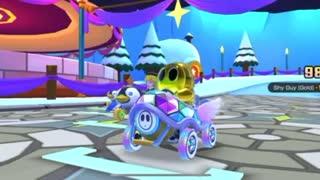 Mario Kart Tour - Rainy Balloons Glider Gameplay (Snow Tour Pipe 1 Spotlight Reward)