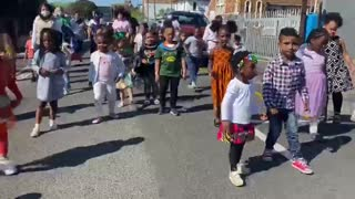 Toddlers from The Kleine Einstein Day Care Centre perform the Jerusalema dance