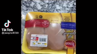 Magnet sticking to grocery store meat exposed