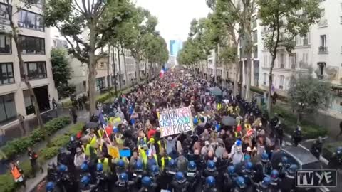 The people in Paris, France Marching with the Police