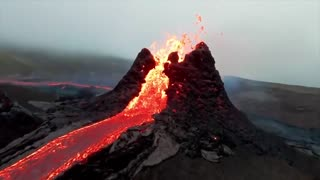 Drone footage at the volcanic eruption in Fagradalsfjall Iceland