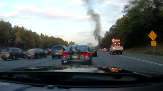 Car on Fire on Maryland highway