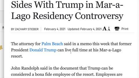 Florida allows Trump to live at Mar A Lago