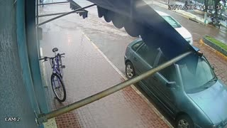 Slippery Sidewalk Ends Chase Between Dog and Cyclist