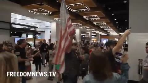 """F Joe Biden,"" ""USA,"" and ""Trump Won"" chants in Staten Island Food Court"