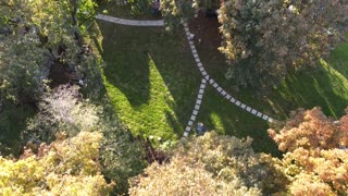 Drone flight over house with Mount Rainier