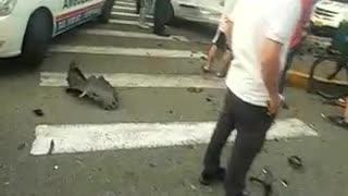 Accidente calle 36 con 22 en Bucaramanga - dos heridos